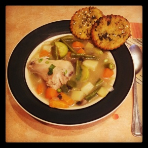 Soup Is Served With Homemade Crackers